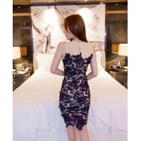 WS0074D Europe Hollow Lace Round Neck Sleeveless Dress