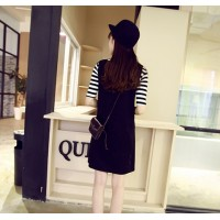 WS0076D Short-Sleeved Striped T-Shirt + Solid Color Strap Dress