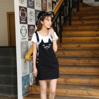 WS0077D Korean Girls College Cute Strap Dress