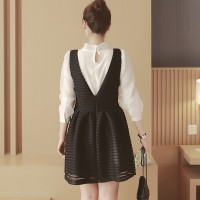 WS0090D Spring Bow Slim Chiffon Blouse Strap Dress