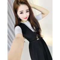 WS0091D New Fashion Style Short-Sleeved T-Shirt + Solid Color Waist Straps Pants
