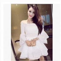 WS0101D New Sweet Princess Style Strapless Trumpet Sleeve Dress