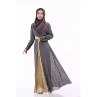 WS0115D New Muslim Chiffon Long-Sleeved Dress Elegant Gown