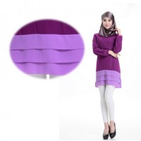WS0116D  New Muslim Fashion Chiffon Long-Sleeved Short Dress