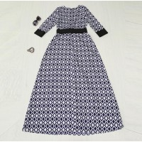 WS0118D Muslim Diamond Plaid Print Dress