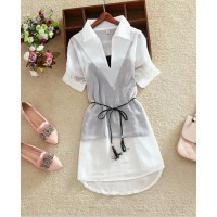 WS0119D New Solid Color Short-Sleeved Chiffon V-Neck Shirts