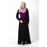 WS0120D Muslim Women's Stitching Color Baju Kurung