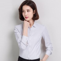 WS0171 Long-Sleeved Korean Slim Professional Round-Collar Dress