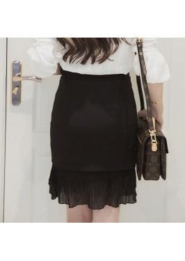 WS0176 Summer High Waist Chiffon Stitching Skirt