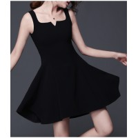 WS0177 Korean Summer New V-neck High Waist Thin Hepburn Dress