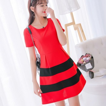 WS0178 Spring and Summer New Korean Version Women Slim Wild Short-Sleeved Dress