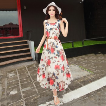 WS0180 Summer Slim Chiffon Bohemian Sleeveless Long Dress