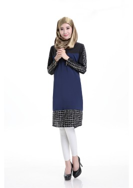 WS0184 Lattice Stitching Long Sleeves Dress