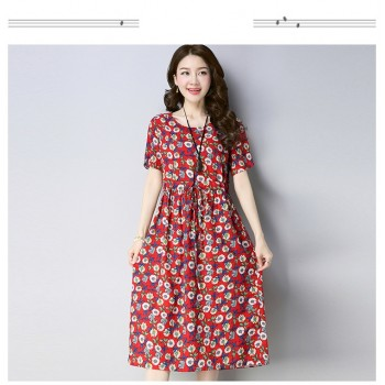 WS0186 New Korean Short-Sleeved Linen Dress