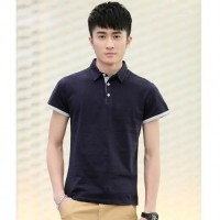 MS0001  New Fashion Classic Solid Color Business Lapel Cotton Short-Sleeved T-Shirt