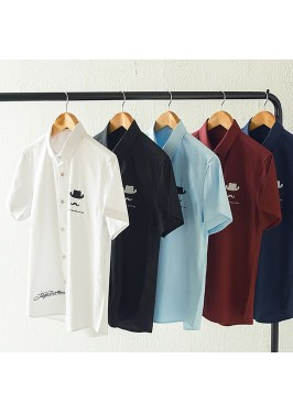 MS0166D Korean Solid Color Casual Short-Sleeved Shirt