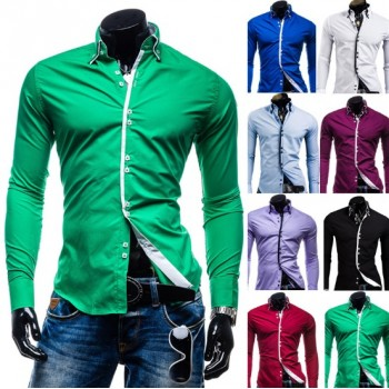 MS0178D New Men's Double Buckle Casual Long Sleeve Shirts
