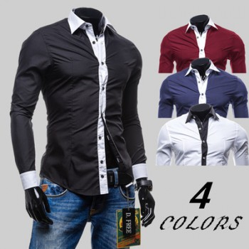 MS0190D Korea Stitching Color Placket Long-sleeved Shirt