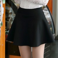 WS0037M New Korean High Waist Shorts Solid Color Pleated Skirt